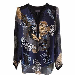 Hale Bob Navy Blue Floral Tunic Jeweled Neckline S